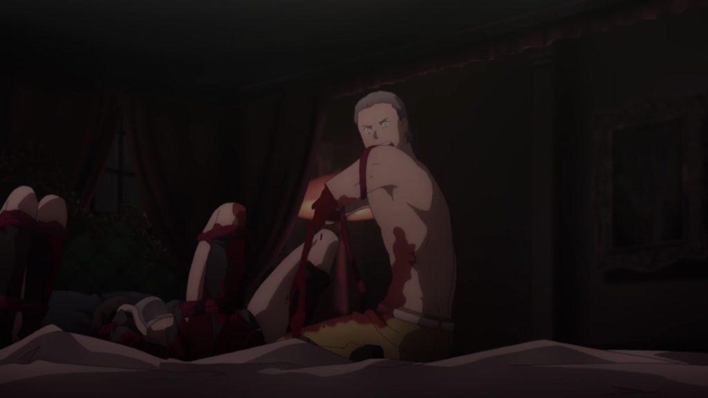 ウンベールが左腕を止血する画像