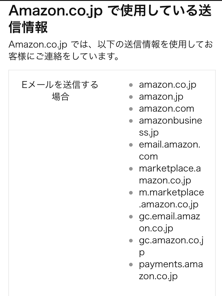アマゾン正式Eメール案内画像