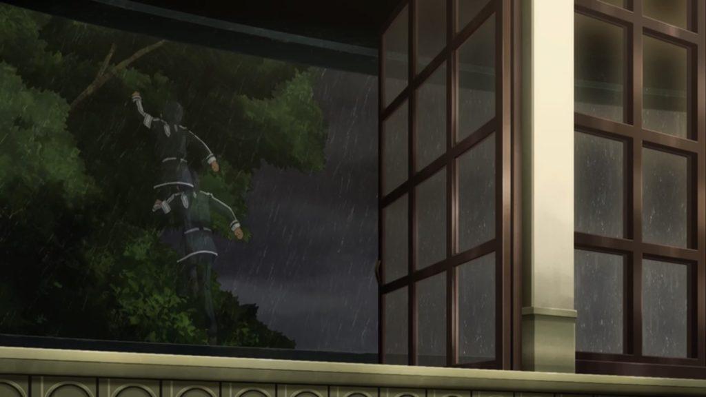 キリトが窓から外飛び出す画像