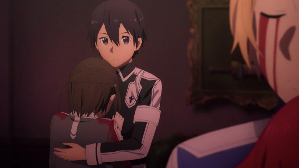 ロニエを抱き寄せて慰めるキリト画像