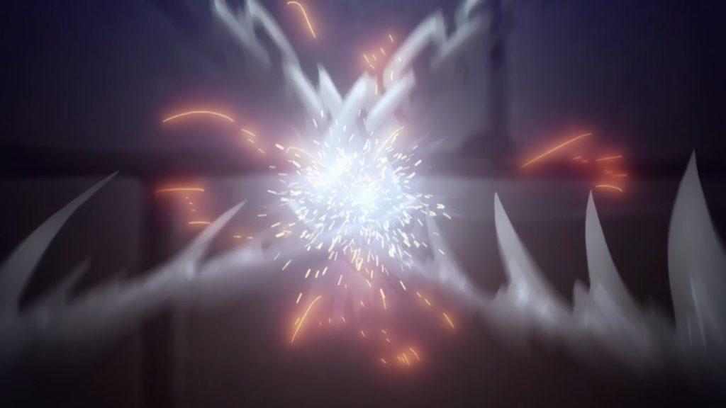 ユージオとキリトの鎖をクロスさせ切断する画像