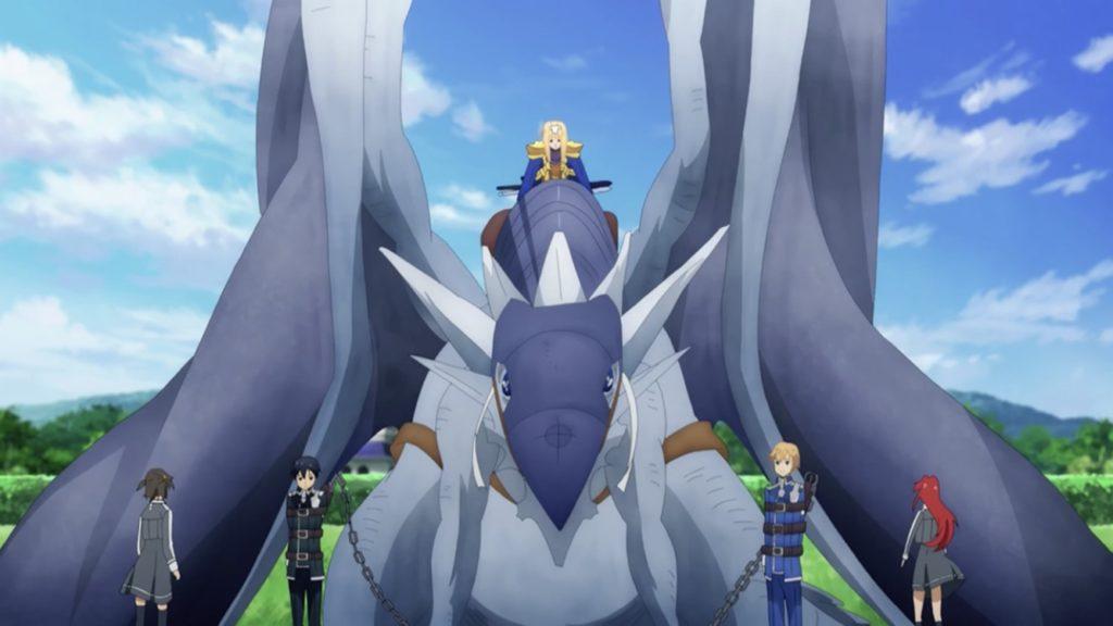 飛竜に捕縛されているユージオとキリトの画像