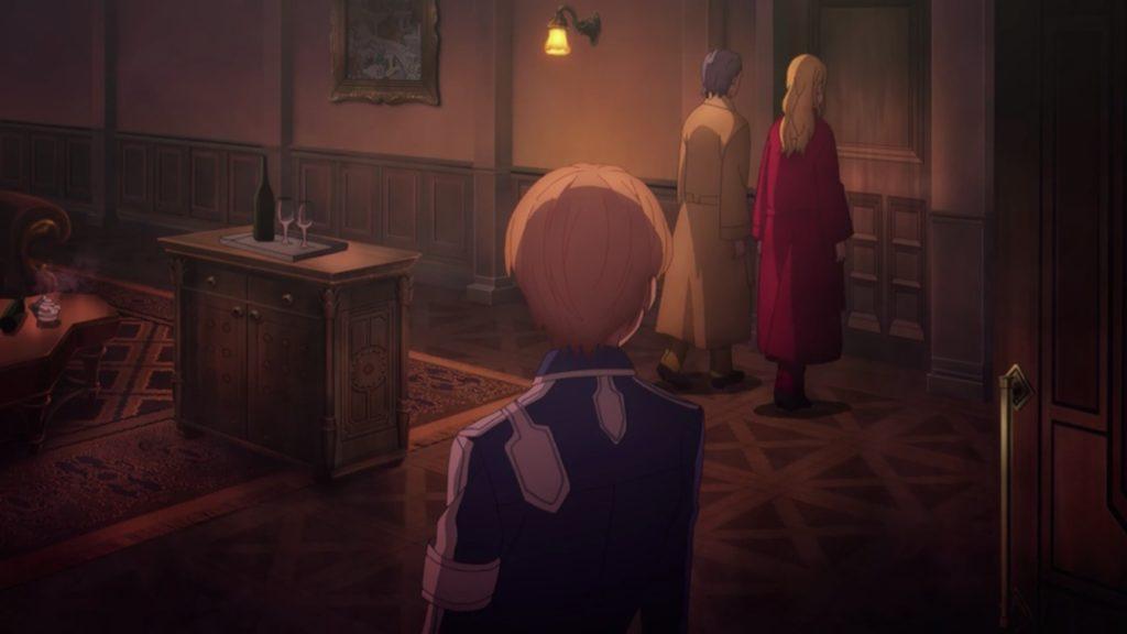 隣の部屋にユージオを案内する、ウンベールとライオスの画像