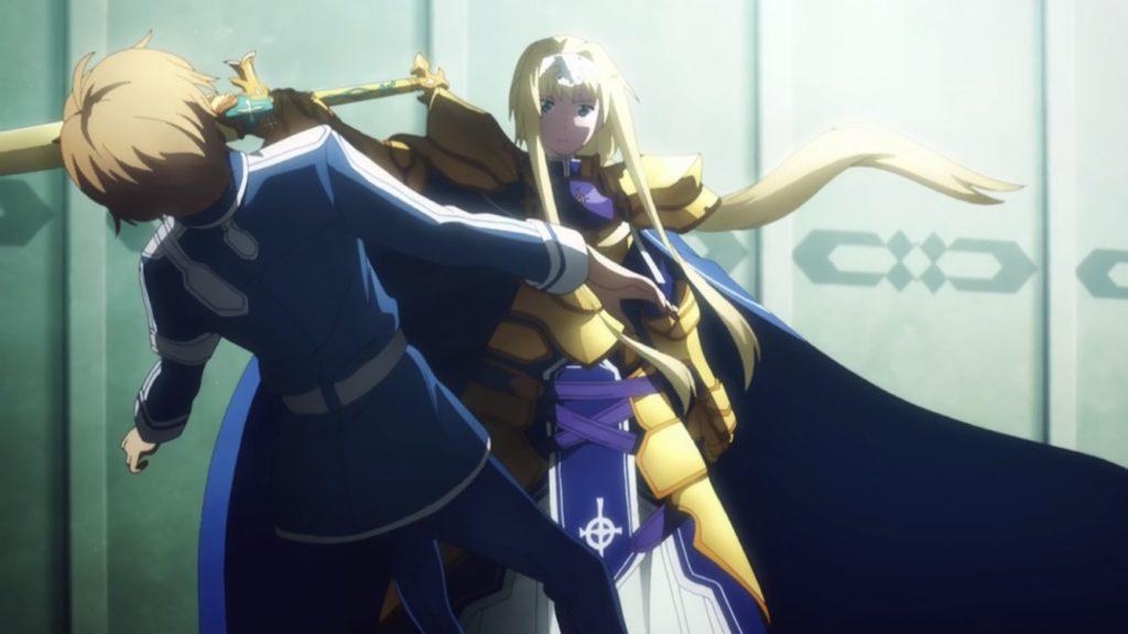 ユージオ、アリスに剣の鞘で殴られる画像