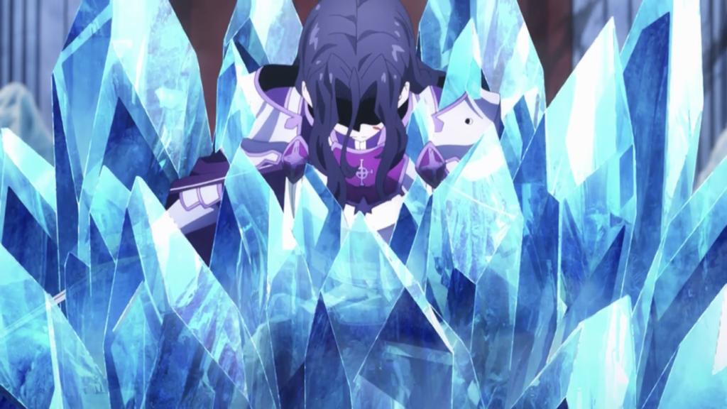 ユージオの武装完全支配術で氷漬けになるファナティオ画像