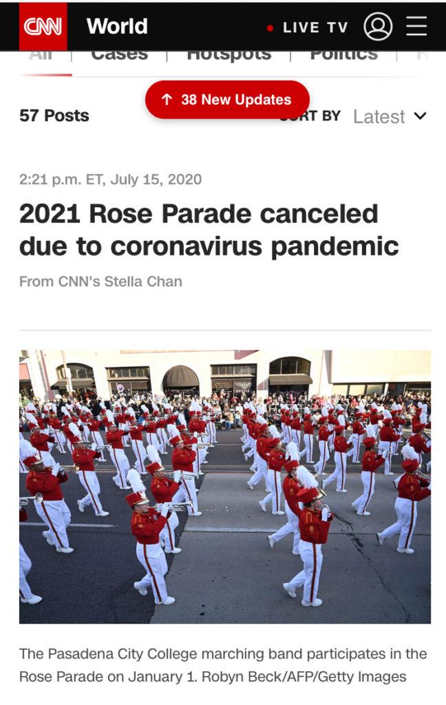 アメリカのニュースサイト 2021年ローズパレードの中止記事画像
