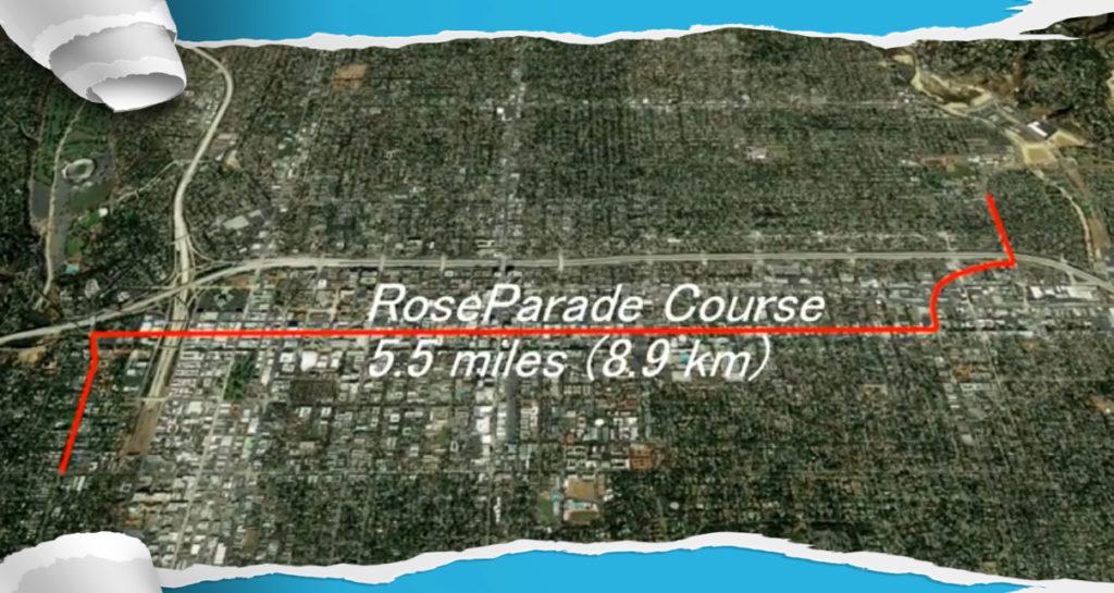 ローズパレードのコース全景、グーグルアース画像